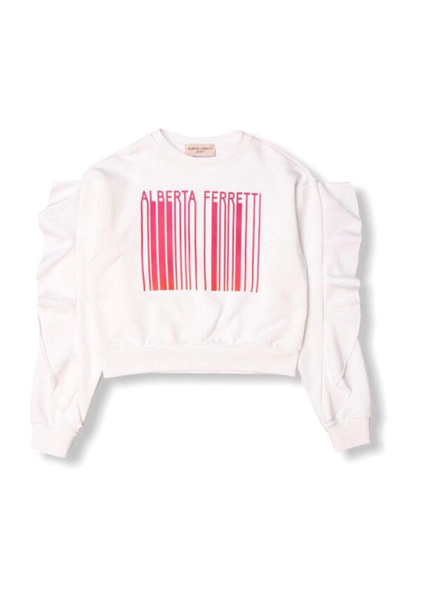 Alberta Ferretti junior felpa bianca con stampa codice a barre alberta Ferretti