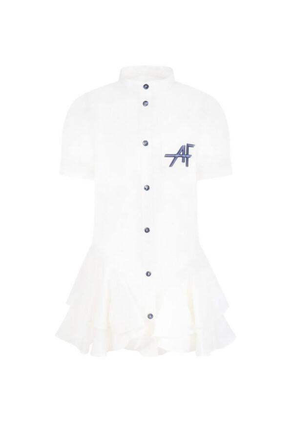 Alberta Ferretti junior vestito bianco con logo per bambina