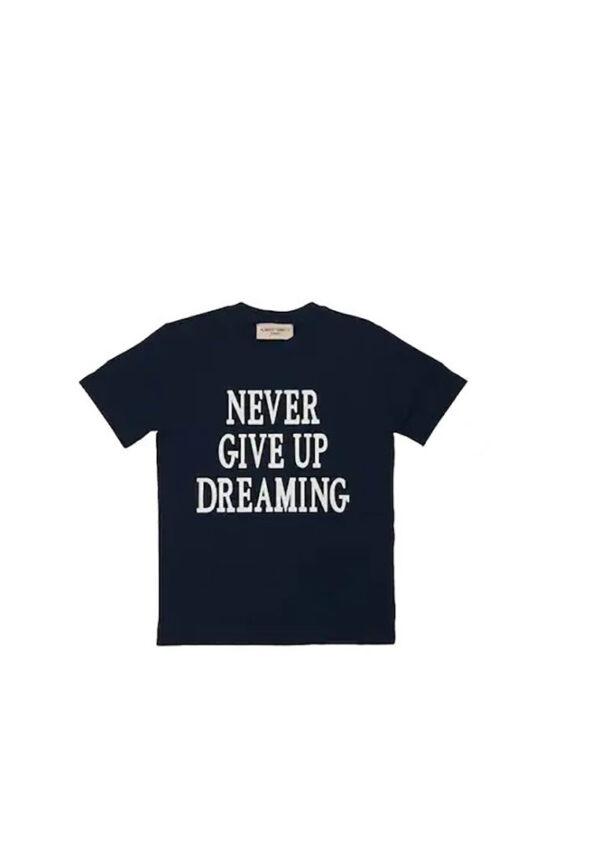 Alberta Ferretti t-shirt nera manica corta girocollo con stampa never give up dreaming