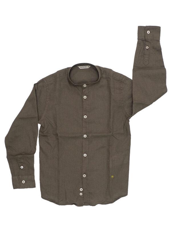 Manuel Ritz camicia lino marrone