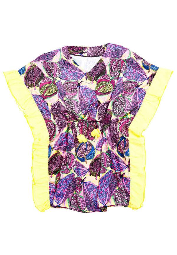 4Giveness shirt fantasia viola con dettagli gialli