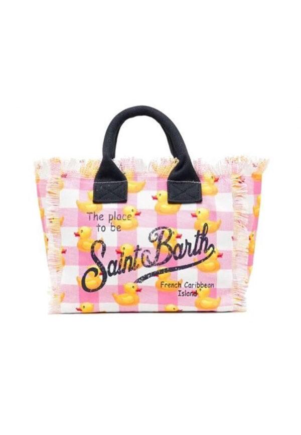 MC2 Saint Barth borsa mare quadri rosa e bianchi con papere