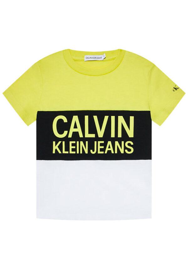 Calvin Klein jeans t-shirt multicolor gialla, nera e bianca con logo giallo