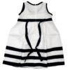 Amore della Mamma abito lino bianco con dettagli neri per bambina