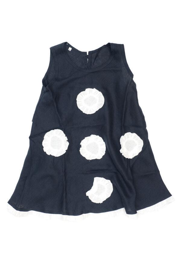 Amore della Mamma abito smanicato blu scuro con cerchi bianchi