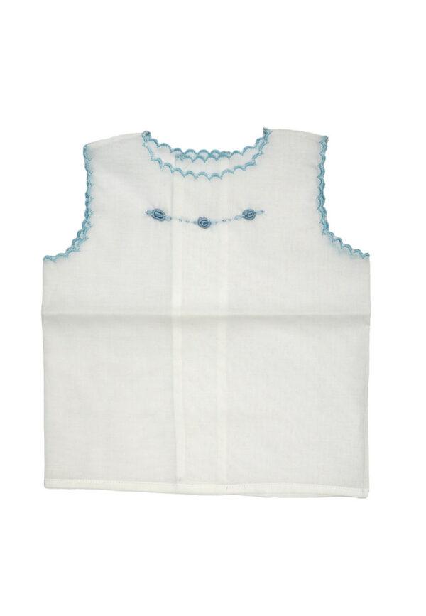 Amore della Mamma camicetta bianca in lino con ricami blu