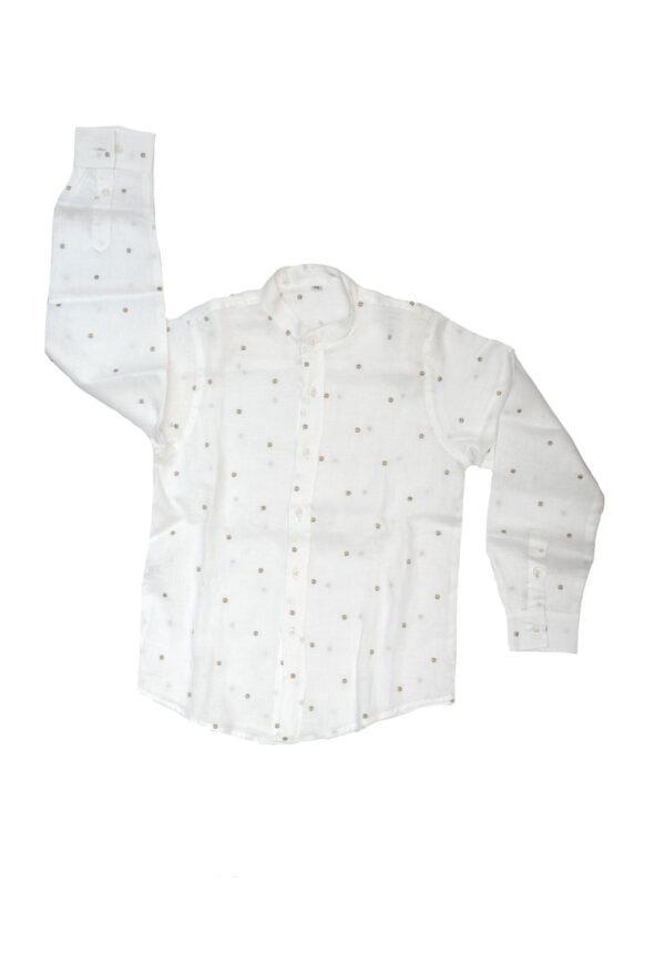 Amore della Mamma camicia in lino collo coreana bianca a pois beige