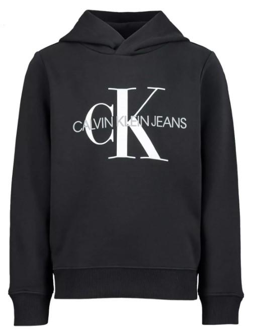 Calvin Klein felpa nera con cappuccio per bambino con logo bianco