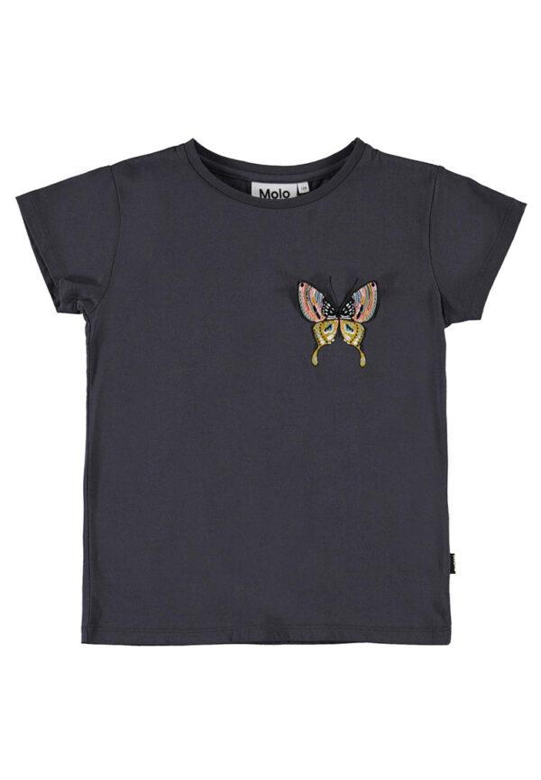 Molo shirt color lavagna con dettaglio farfalla multicolore