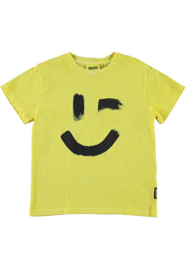 Molo shirt gialla mezza manica con stampa Smile