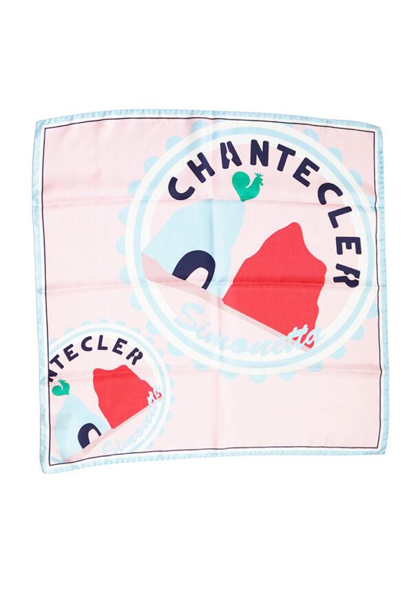 Simonetta Chantecler foulard rosa con stampa multi colore