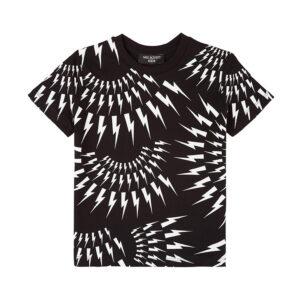 Neil Barrett Kids T- Shirt Con Iconici Fulmini